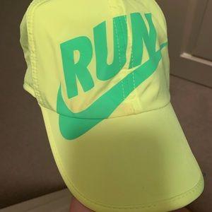 Nike Drifit running hat neon yellow and green